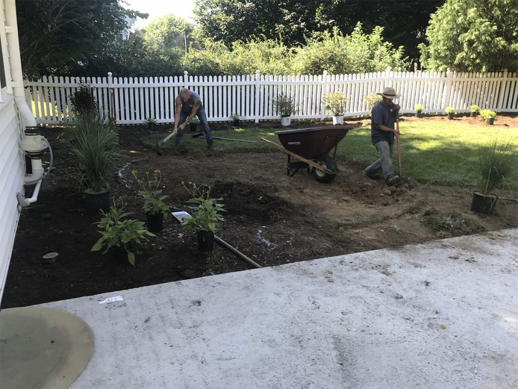 Residential planting and firepit